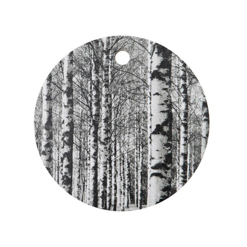 Round wooden black and white cutting board by Miiko design Finland