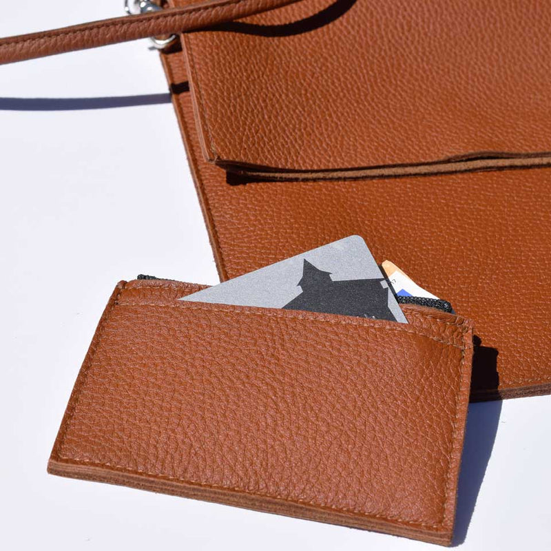 Miiko design brown Pouch with card holder elk leather