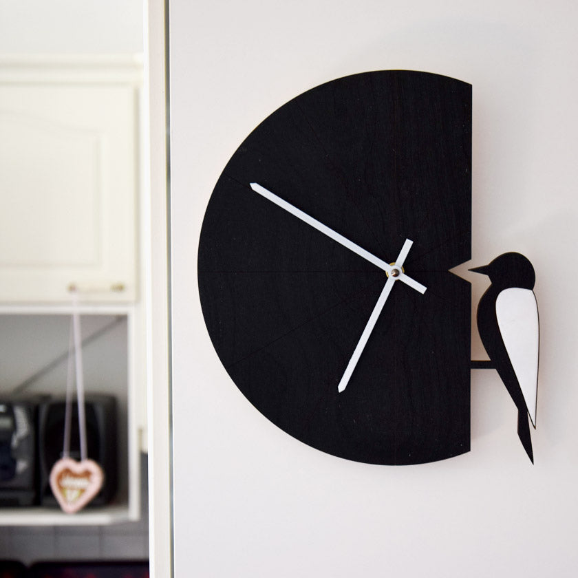 Pauliina Rundgren HandiCrafts black Woodpecker wall clock