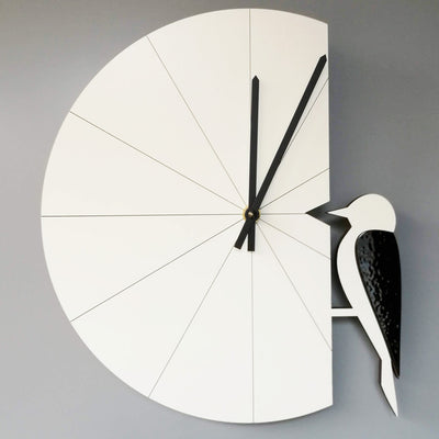 Pauliina Rundgren HandiCrafts white Woodpecker wall clock