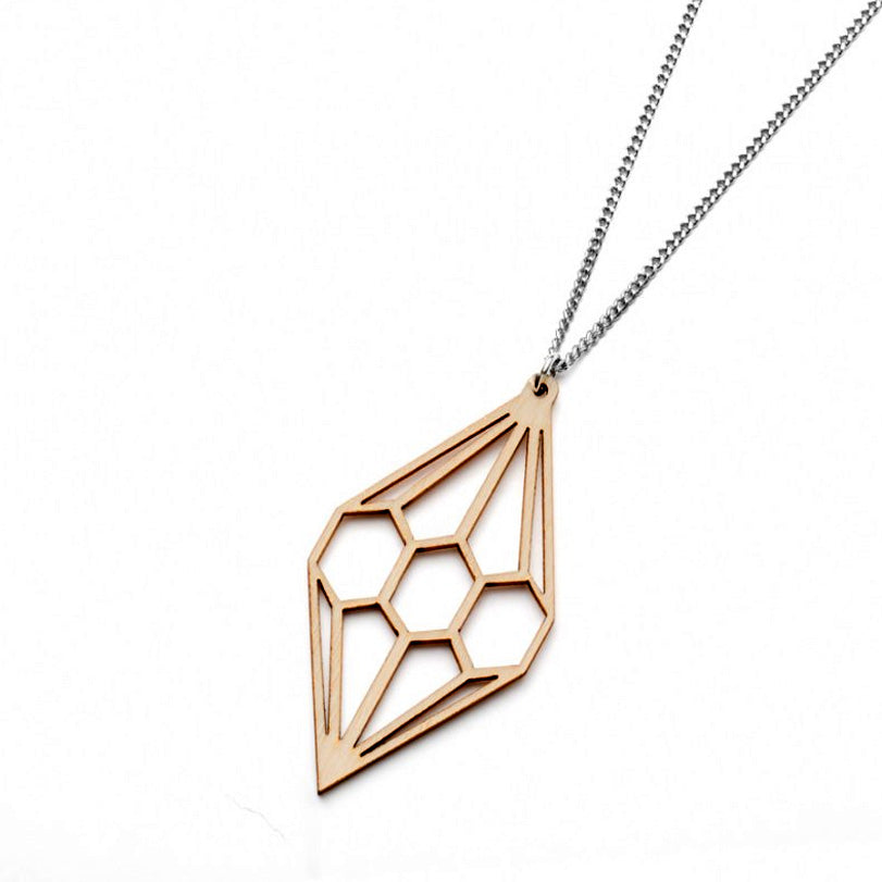 Valona design Diamond wood necklace, Finnish birch