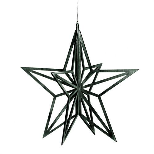 Finnish birch black star decoration valona design ornament
