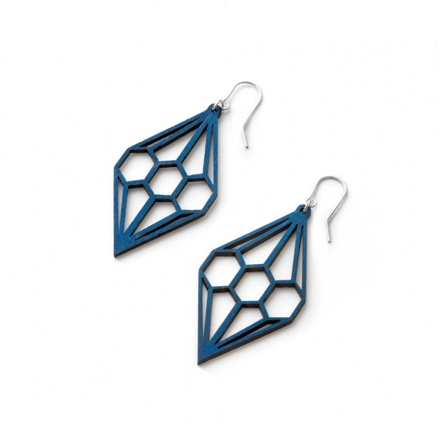 Valona Design blue Diamond wooden earrings, Finnish birch