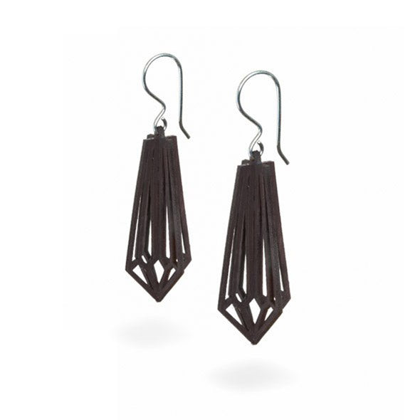 Valona design 3D wooden Birch Crystal earrings black