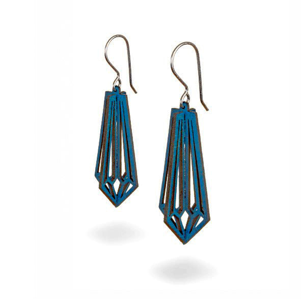 Valona design 3D wooden Birch Crystal earrings blue