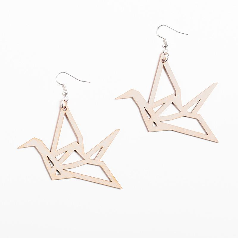 YO ZEN design Origami Swan bird earrings birch