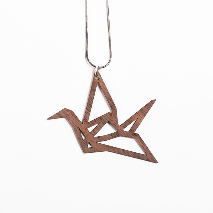 YO ZEN Origami Swan necklace pendant walnut