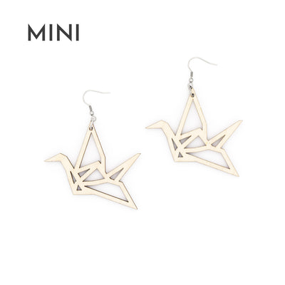 YO ZEN Origami Mini Swan earrings birch wood bird