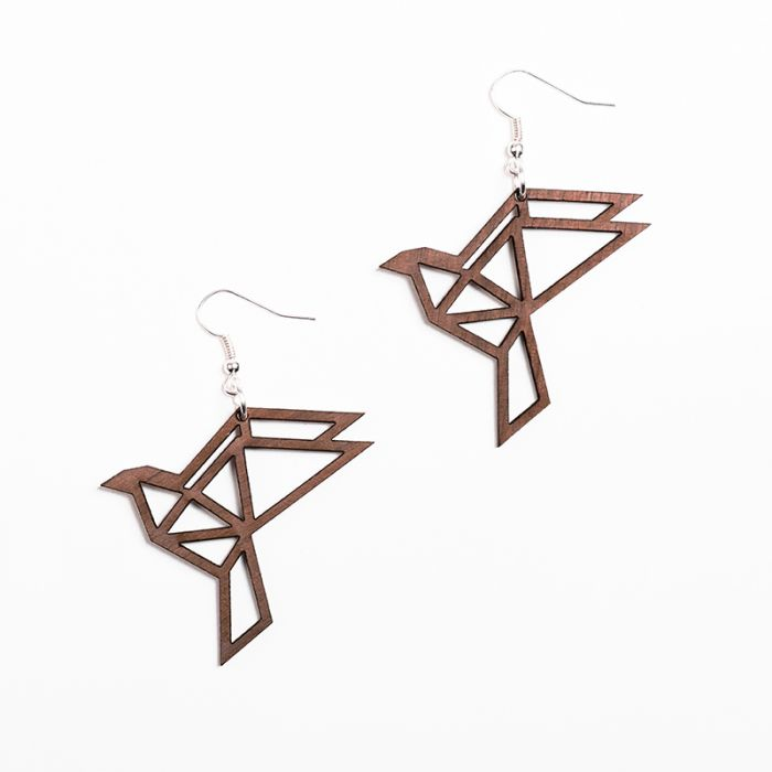 YO ZEN Origami Dove wood earrings walnut