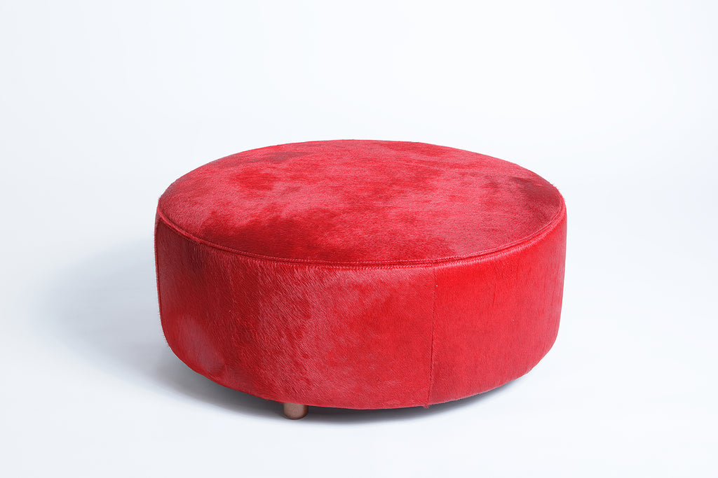 RED COWHIDE OTTOMAN - HOMELOSOPHY