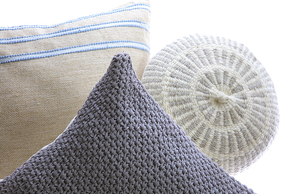 Pale Blue Striped Raw Linen Square Pillow