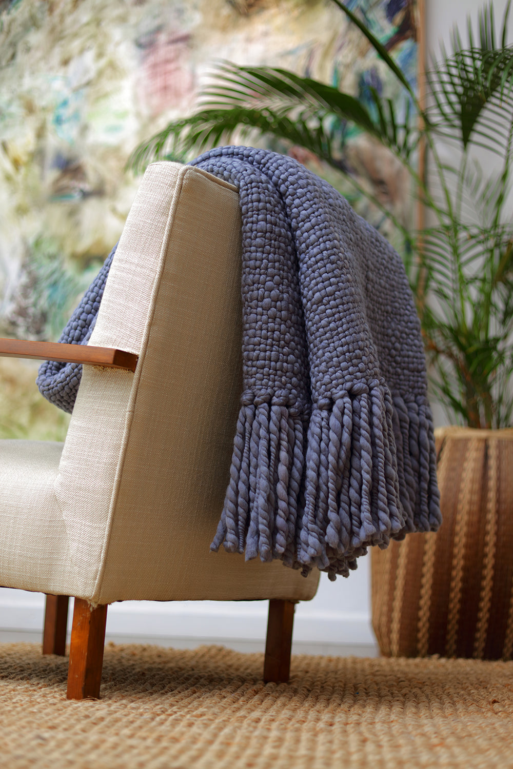 Alma Throw Blanket - Washed Blue