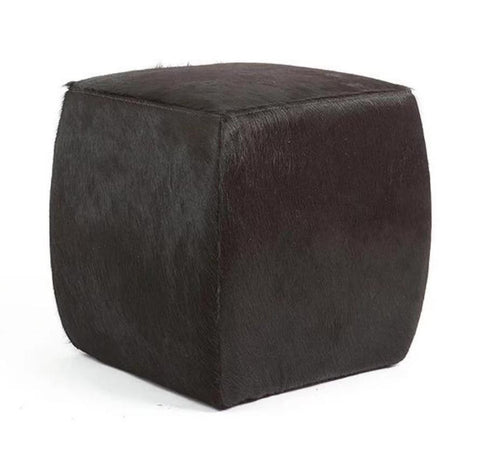 BLACK -  Cowhide Square Pouf