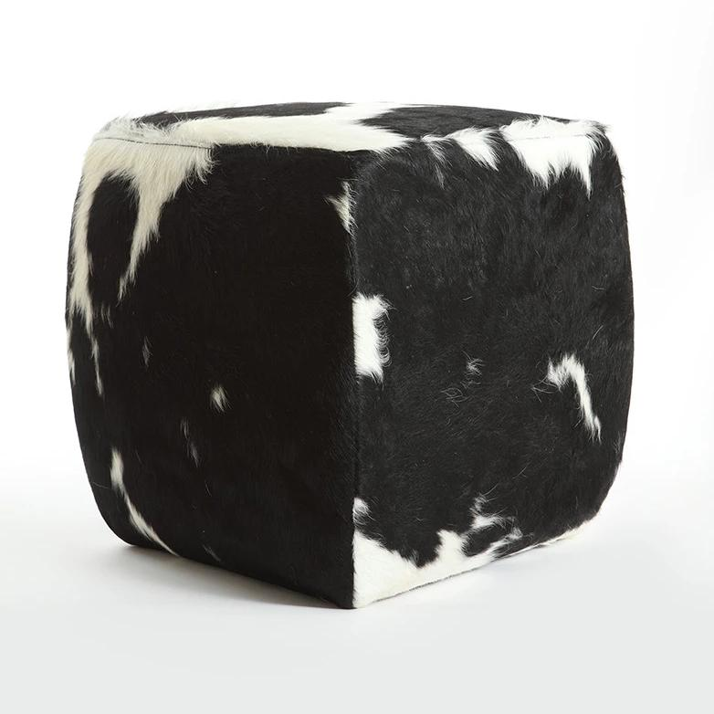HOLSTEIN BLACK & WHITE -  Cowhide Square Pouf
