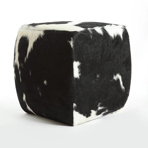 BLACK & WHITE -  Cowhide Square Pouf