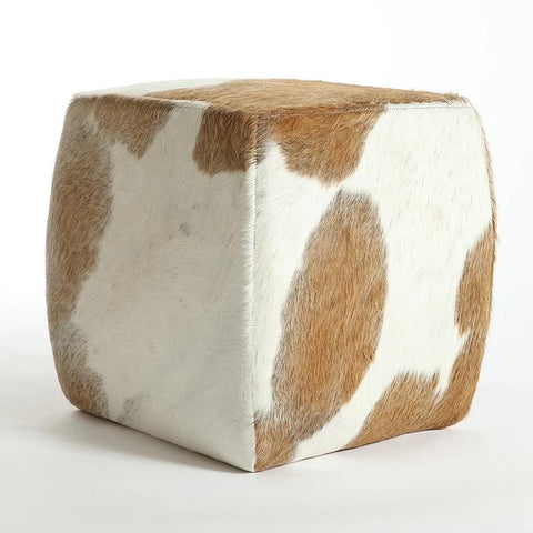 BROWN & WHITE -  Cowhide Square Pouf