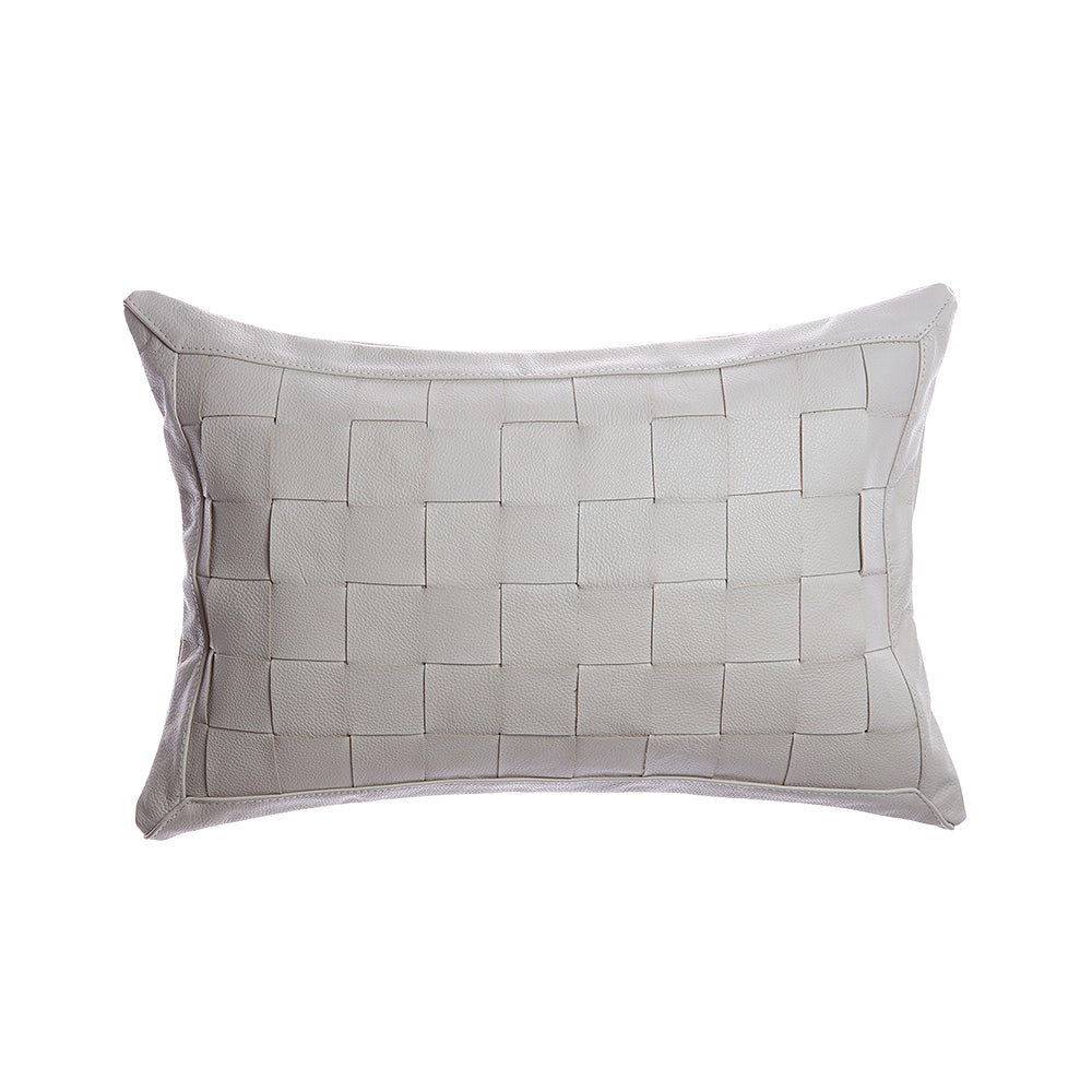 Basket Weave Leather Lumbar Pillow