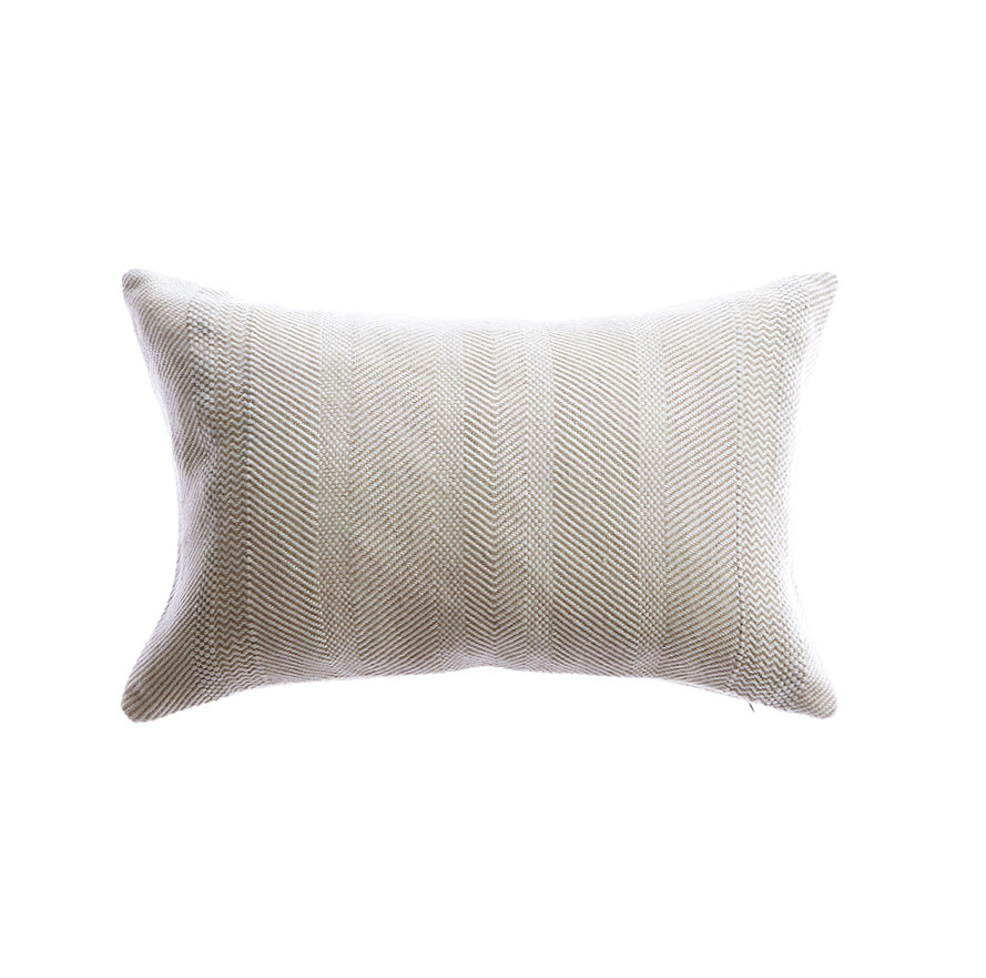 Beige Herringbone Lumbar Pillow
