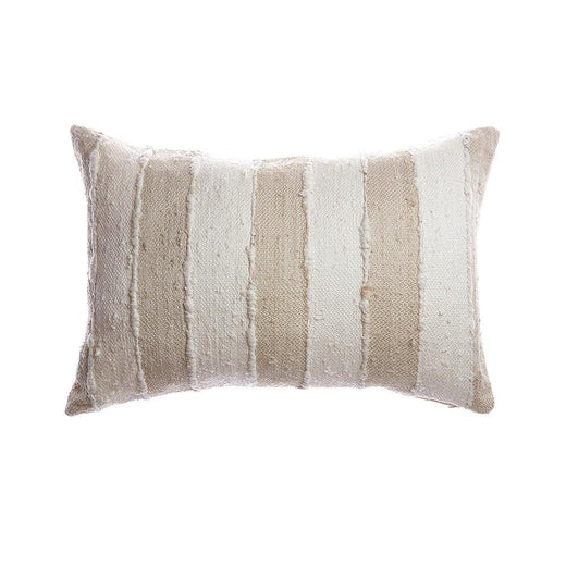 Beige & Ivory Striped Silk Lumbar Pillow