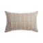 Beige Striped Raw Silk Square Pillow