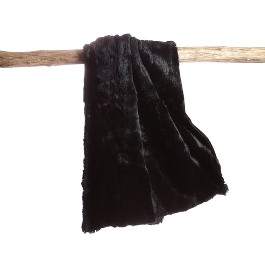 Rabbit Skin Throw - Deep Black