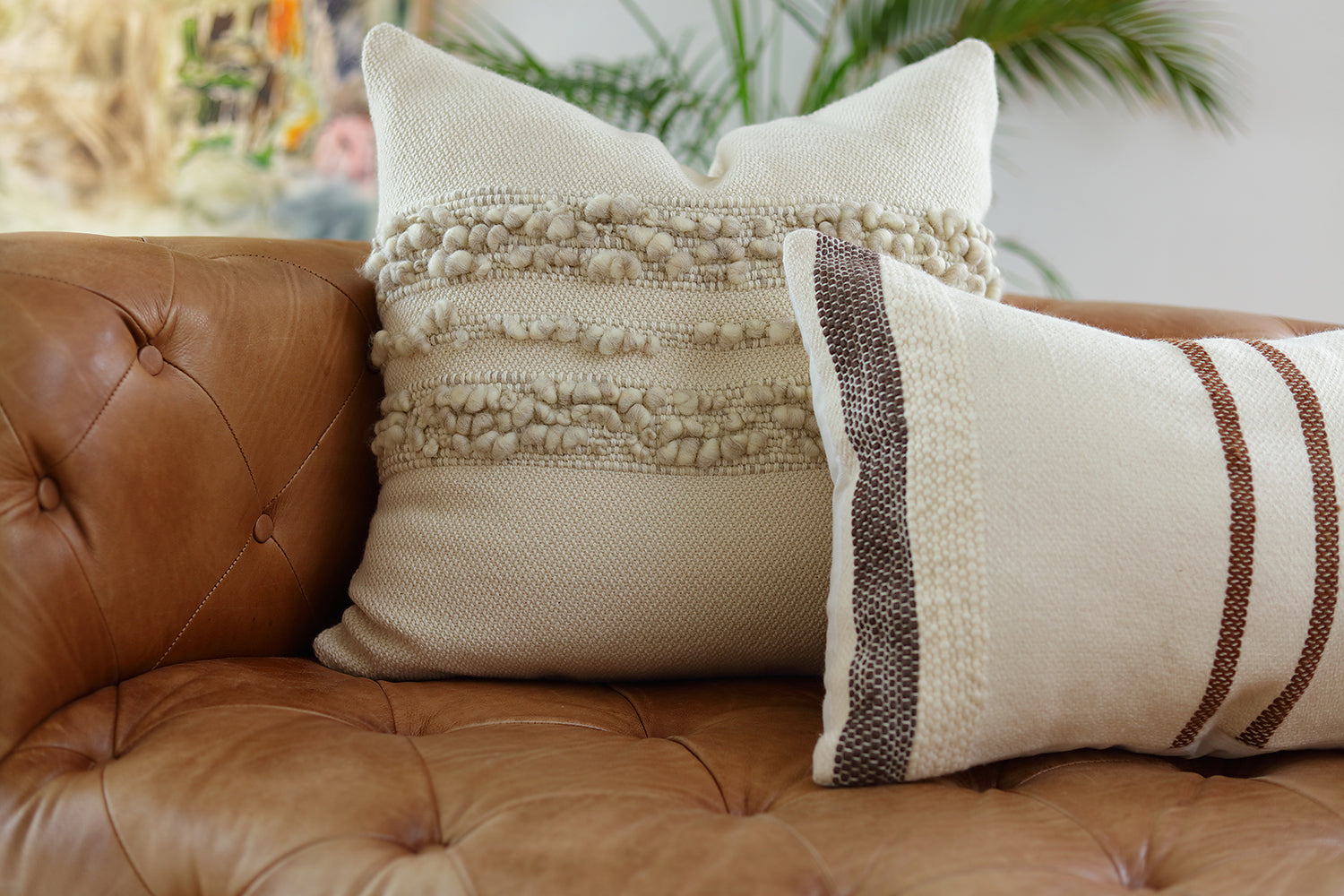 Border Brown Stripes Square Pillow