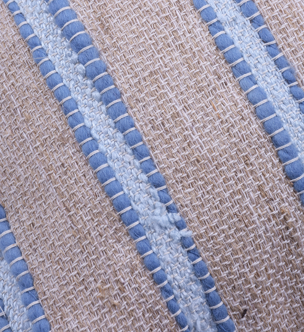 Washed Blue Striped Raw Linen Square Pillow