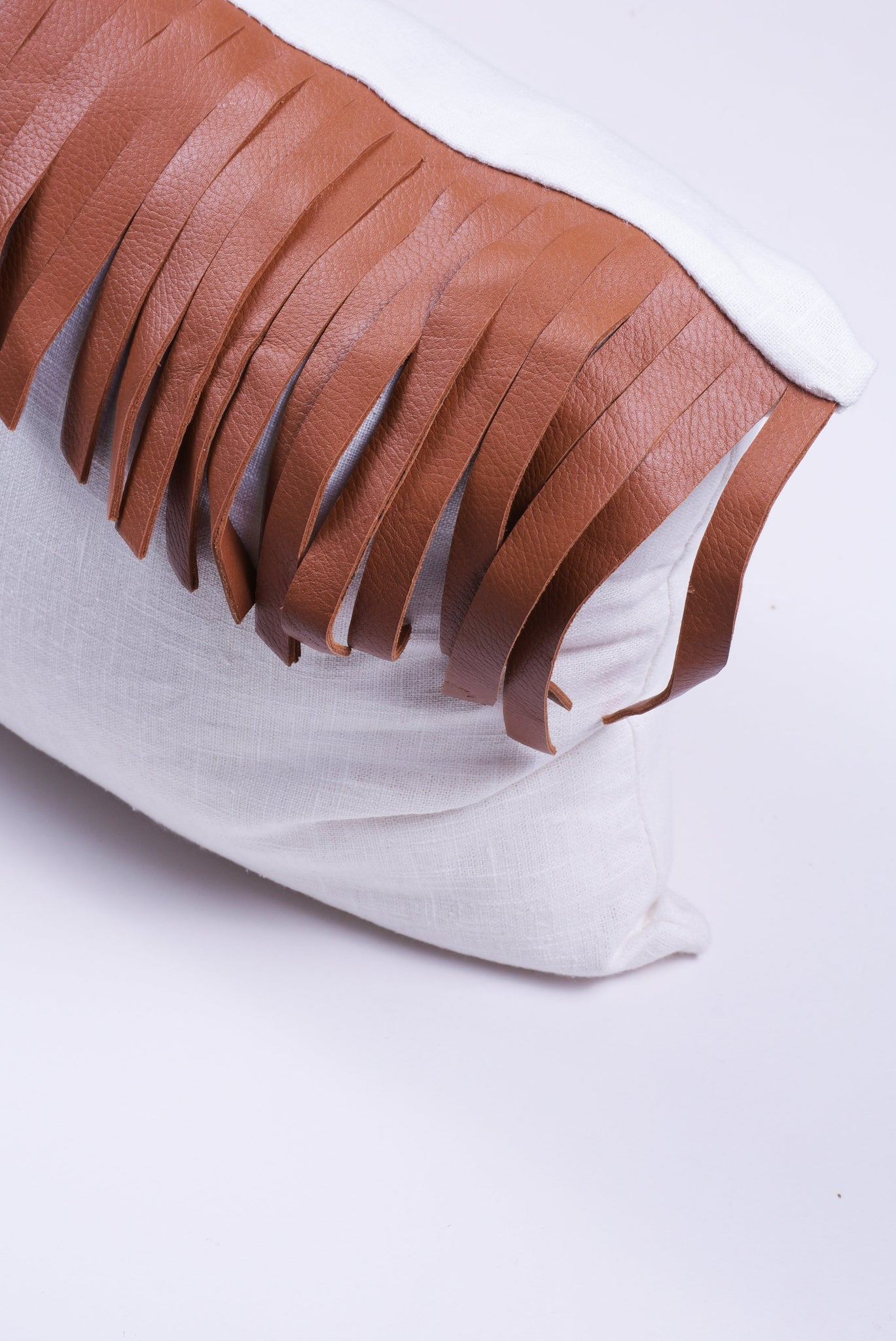 Saddle Leather Fringes Lumbar Pillow