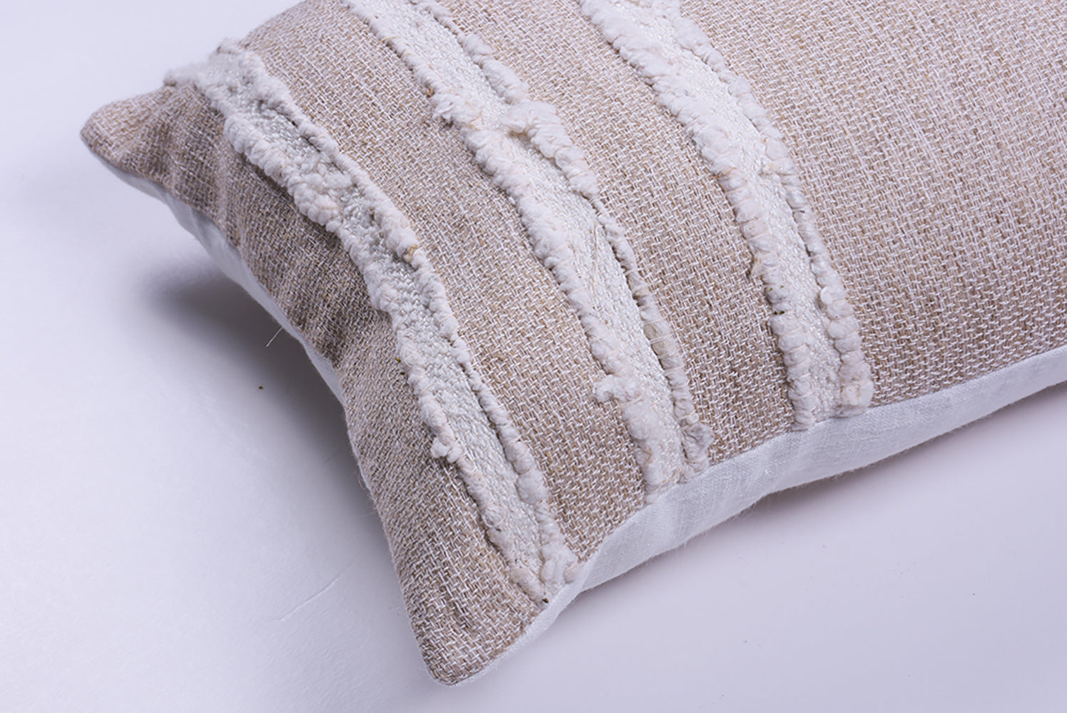 Ivory Striped Raw Linen Square Pillow
