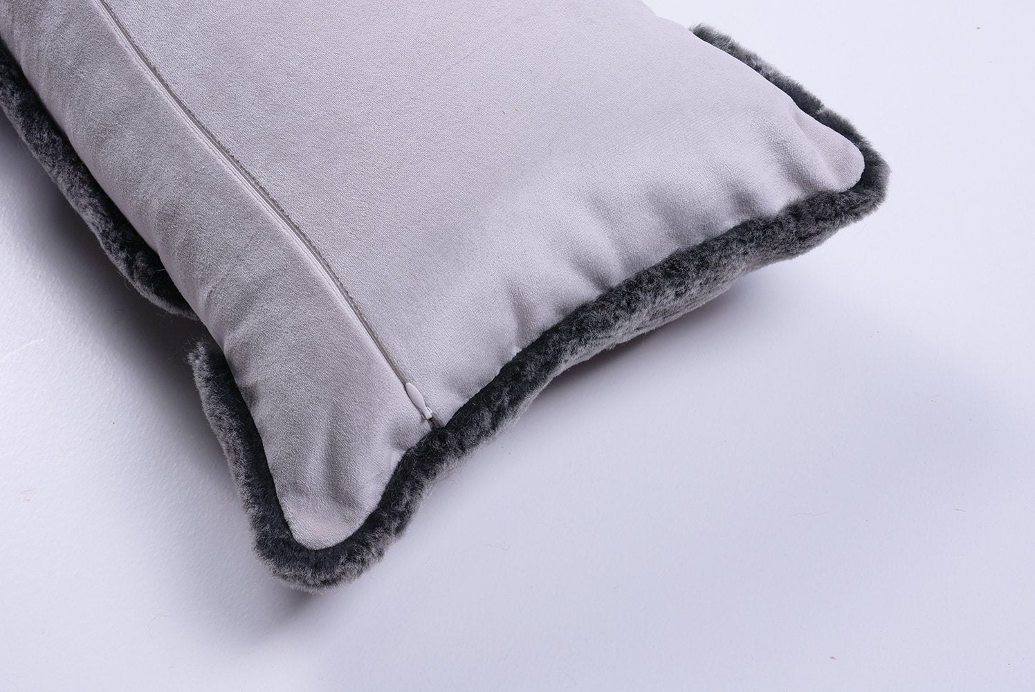 Shearling Charcoal Metallic Leather Lumbar Pillow