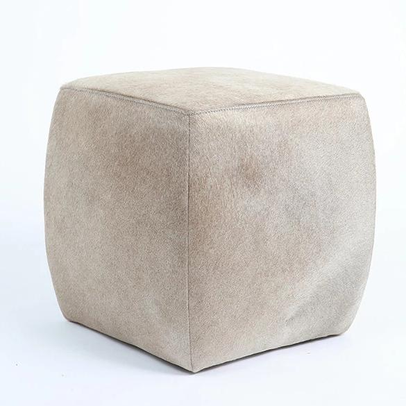 CHAMPAGNE - Cowhide Square Pouf - HOMELOSOPHY 1