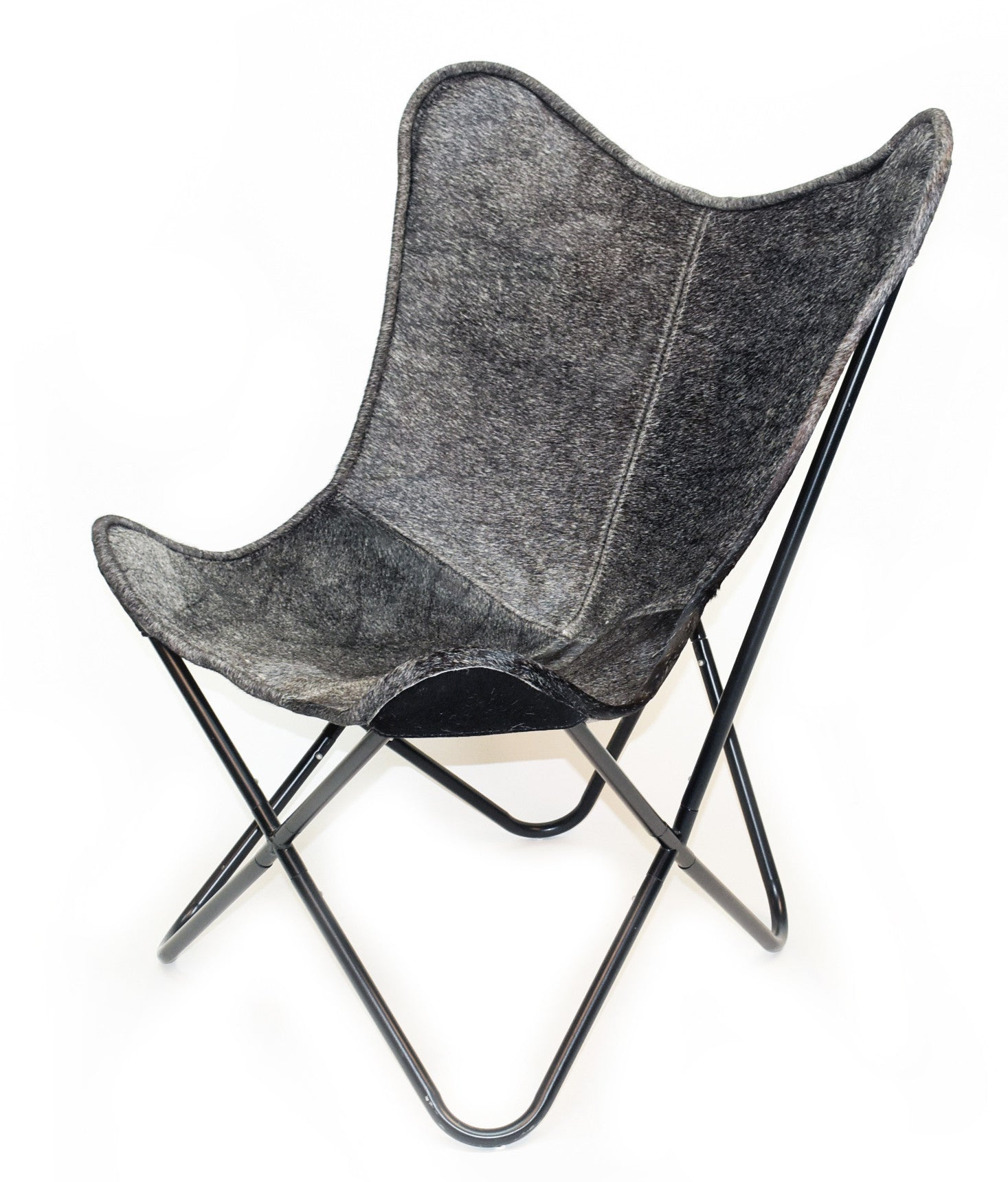 CHARCOAL - Hair on Hide Butterfly Chair