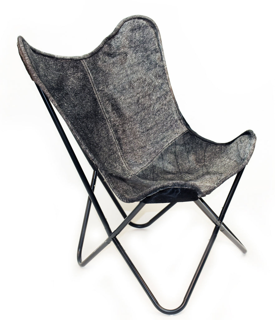 Cowhide butterfly chair - Charcoal Cowhide Butterfly Chair Homelosophy