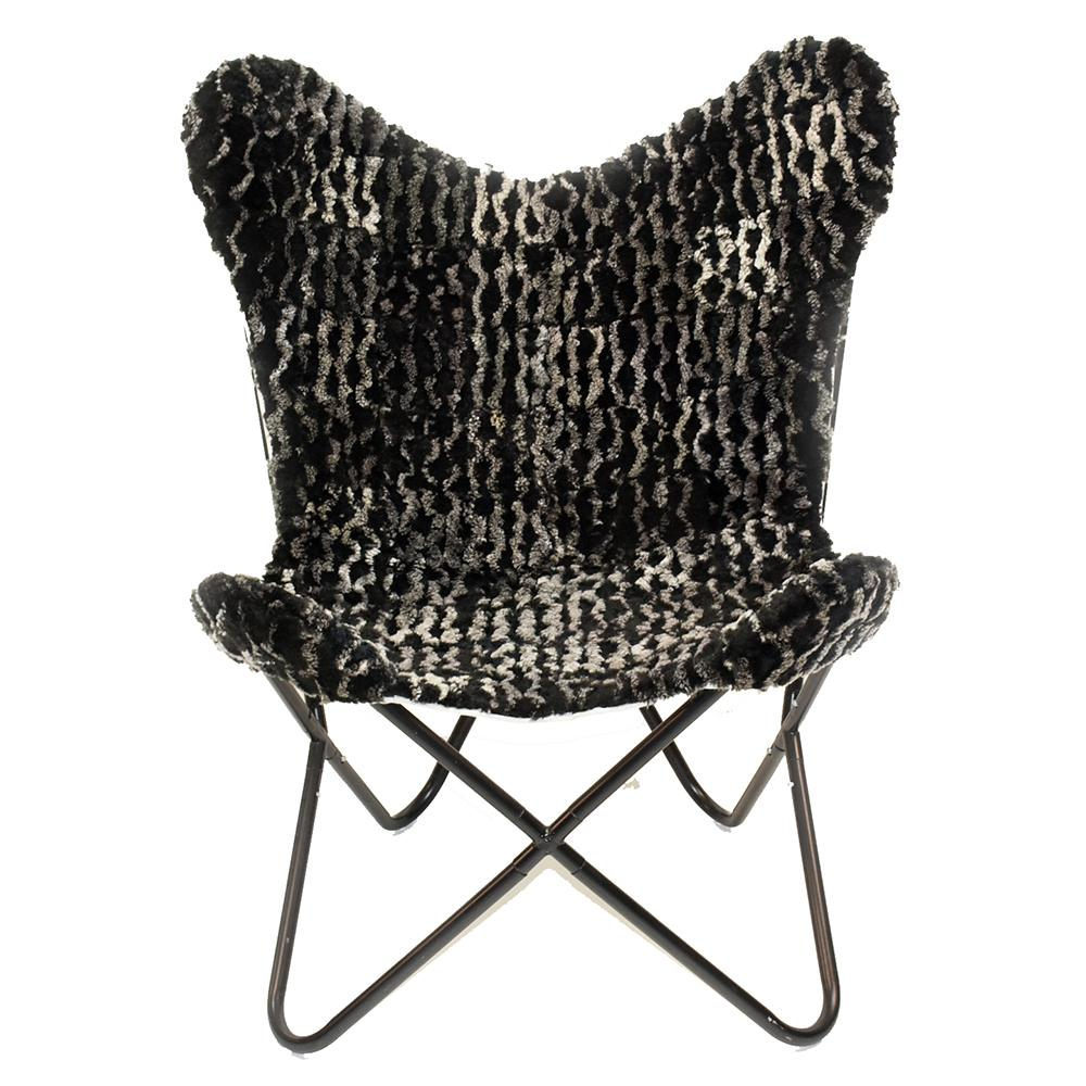 AMANDA CHARCOAL MELANGE - Shearling Butterfly Chair