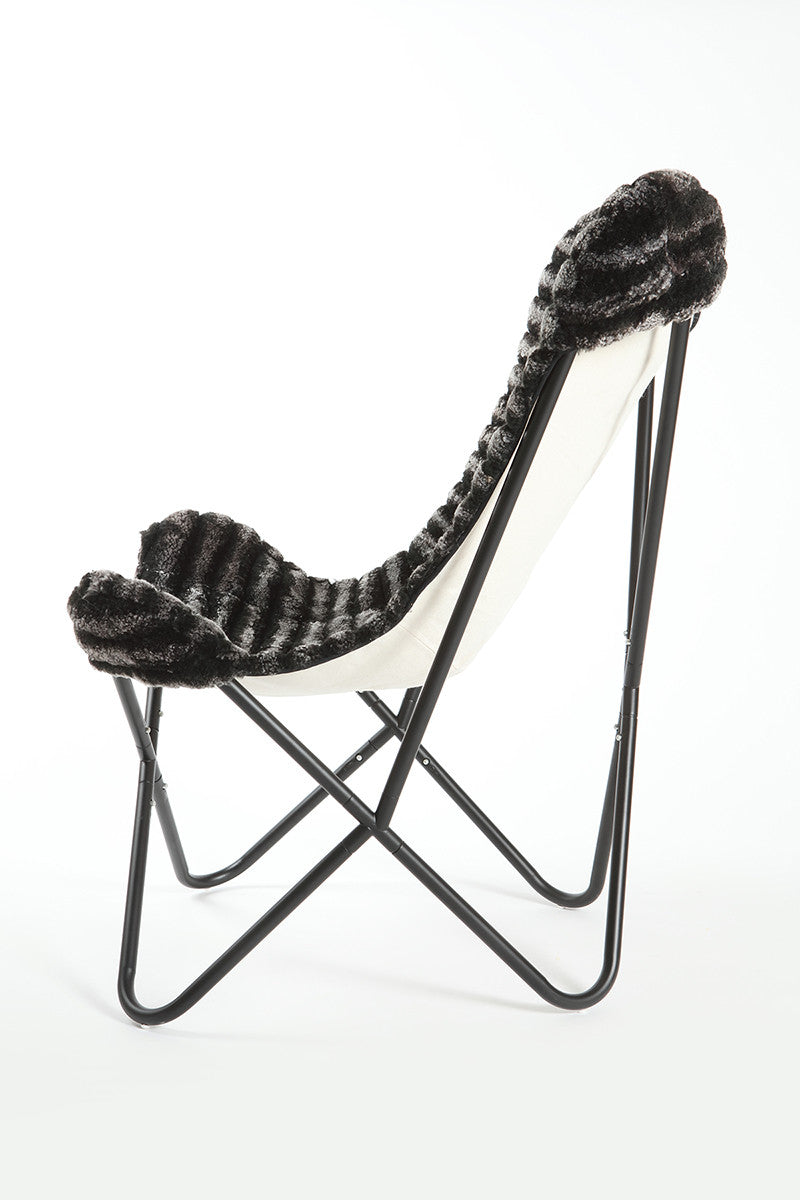 THICK STRIPES CHARCOAL MELANGE - Shearling Butterfly Chair
