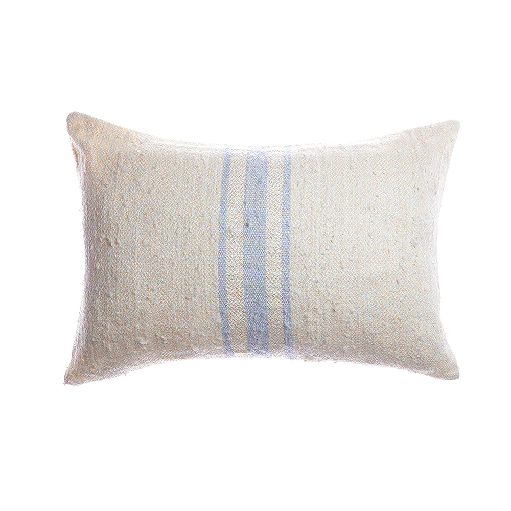 Central Stripes Pale Blue Silk Lumbar Pillow
