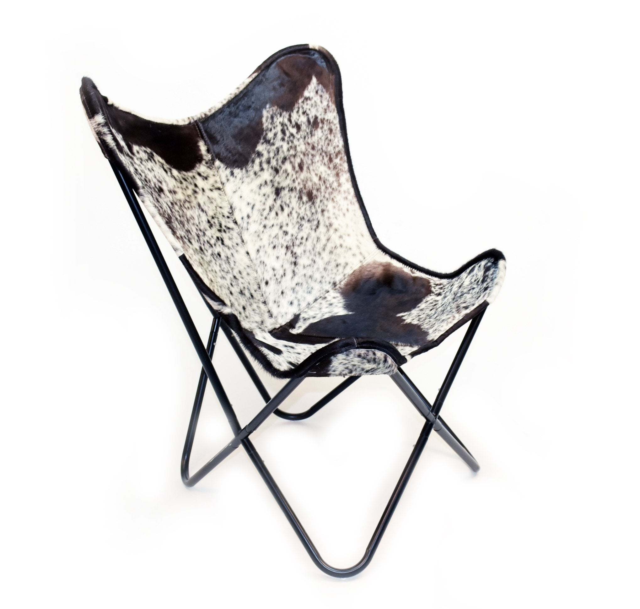 DARK SALT & PEPPER - Hair on Hide Butterfly Chair
