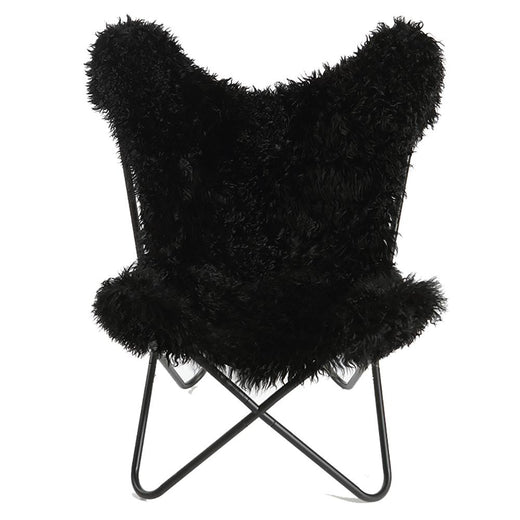 DEEP BLACK - Curly Goatskin Butterfly Chair