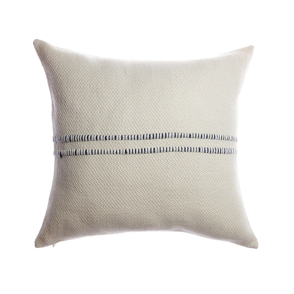 Dark Blue Striped Square Pillow