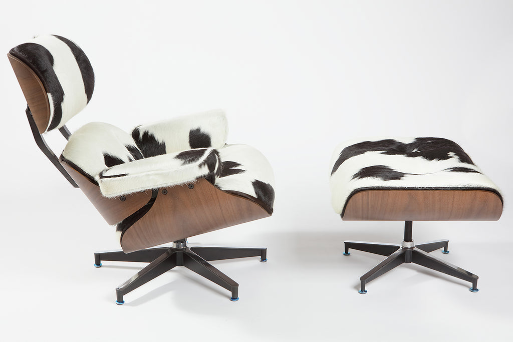 Charles Eames Lounge Chair Holstein Black White - Charles eames lounge chair