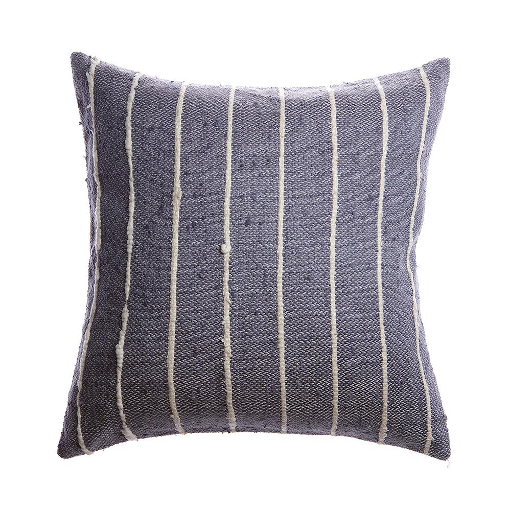Slate Striped Raw Silk Lumbar Pillow