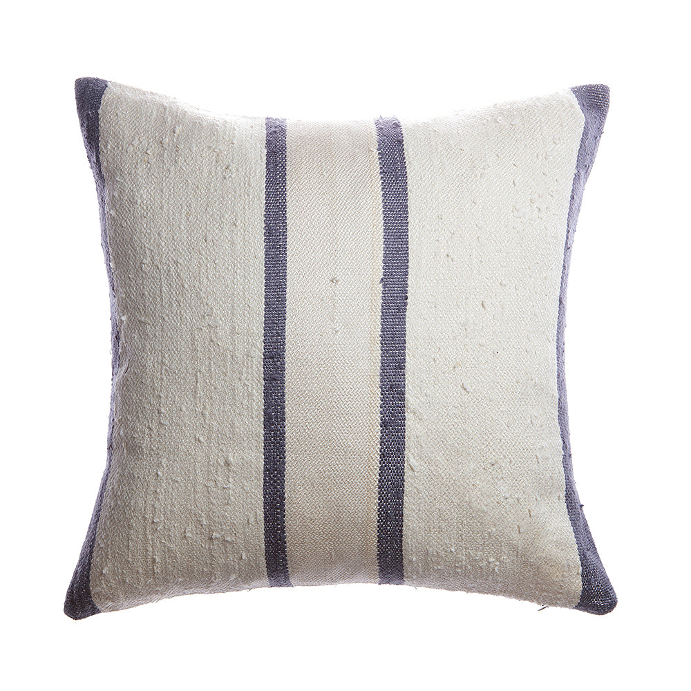 Slate Stripes Raw Silk Square Pillow