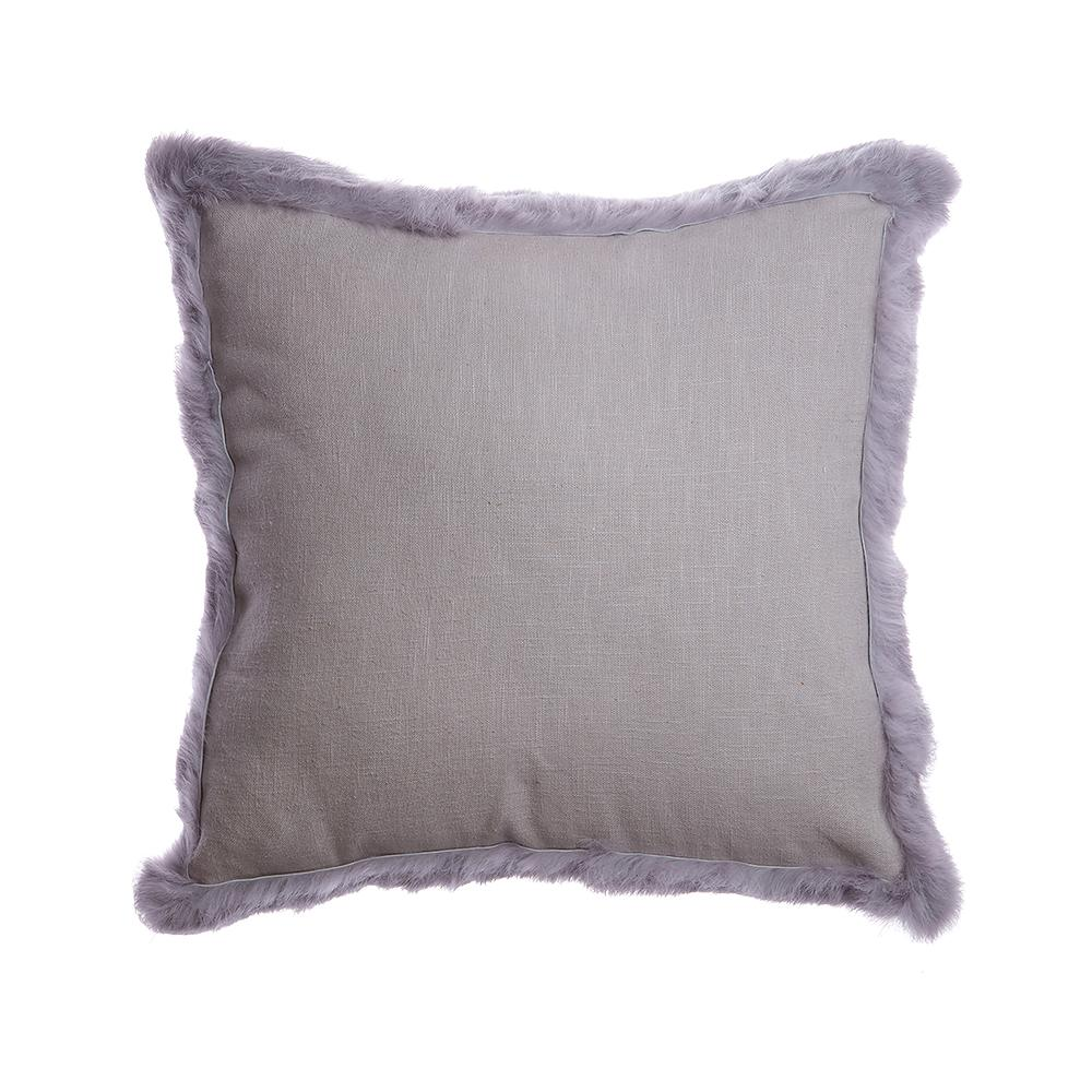 Grey Trim Rabbit Square Pillow