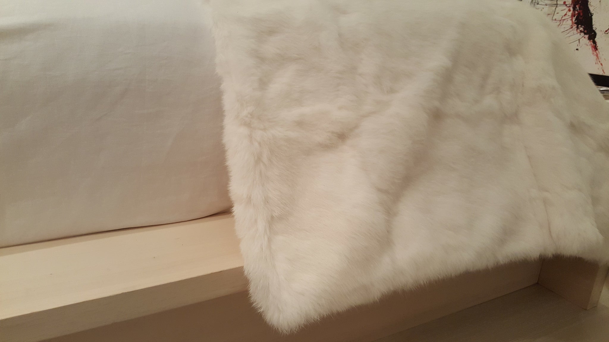 Rabbit Fur Blanket - Natural Ivory