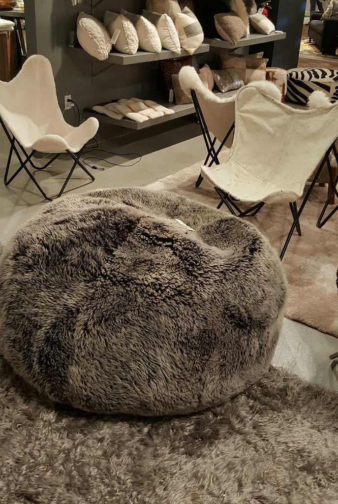 SHEEPSKIN POUF - Long Hair Charcoal Racoon - homelosophy