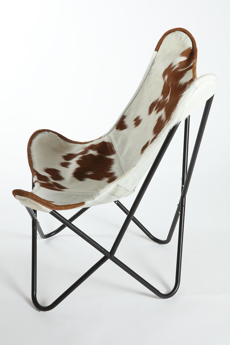 HOLSTEIN BROWN & WHITE - Hair on Hide Butterfly Chair