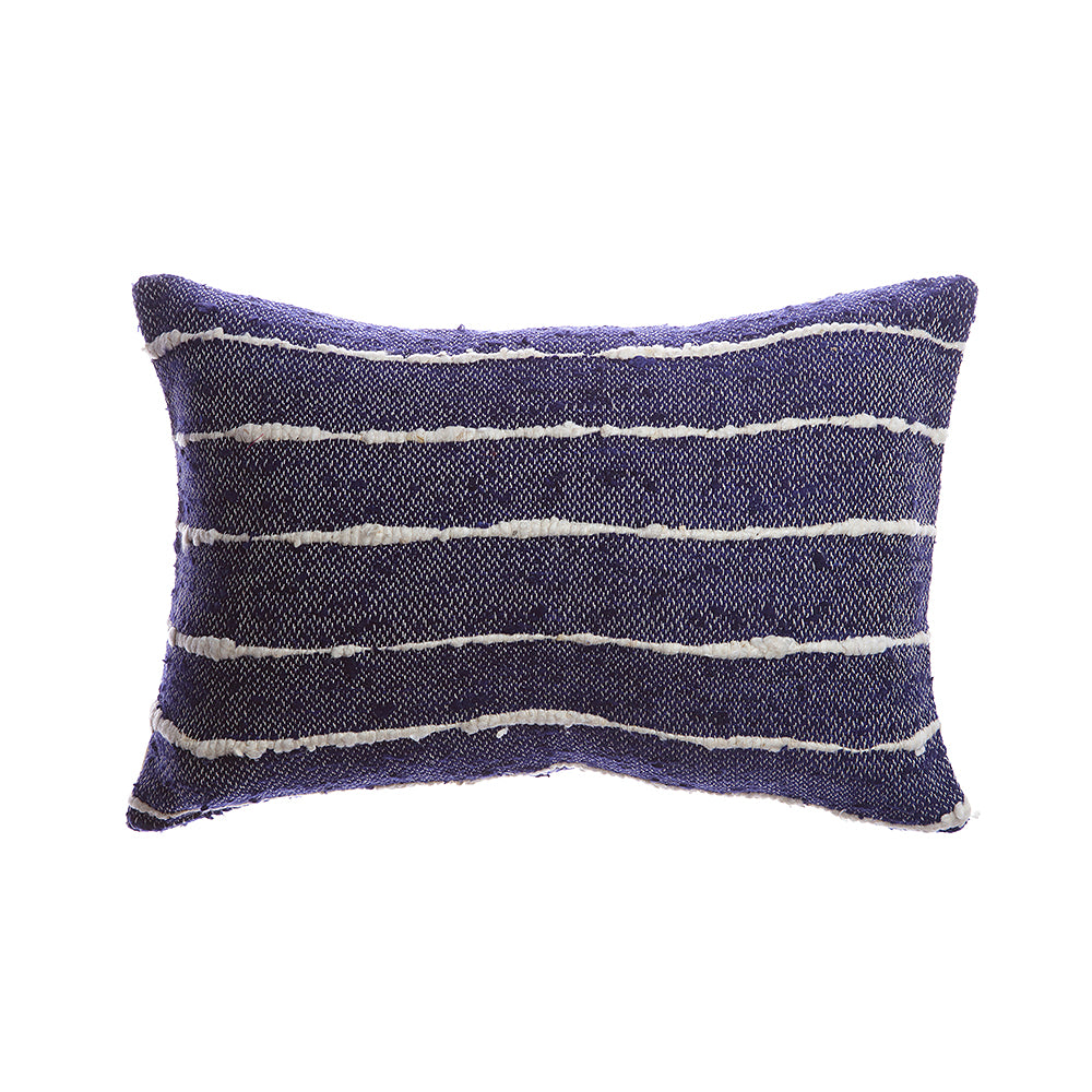 Indigo Striped Raw Silk Lumbar Pillow