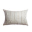 Ivory Striped Raw Silk Lumbar Pillow