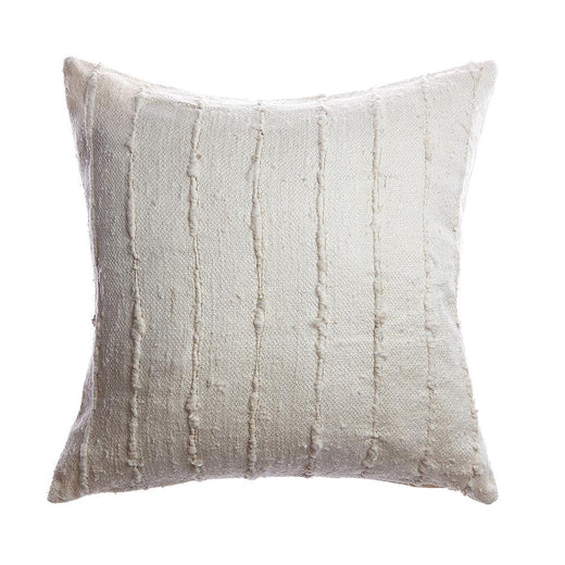 Ivory Striped Raw Silk Square Pillow