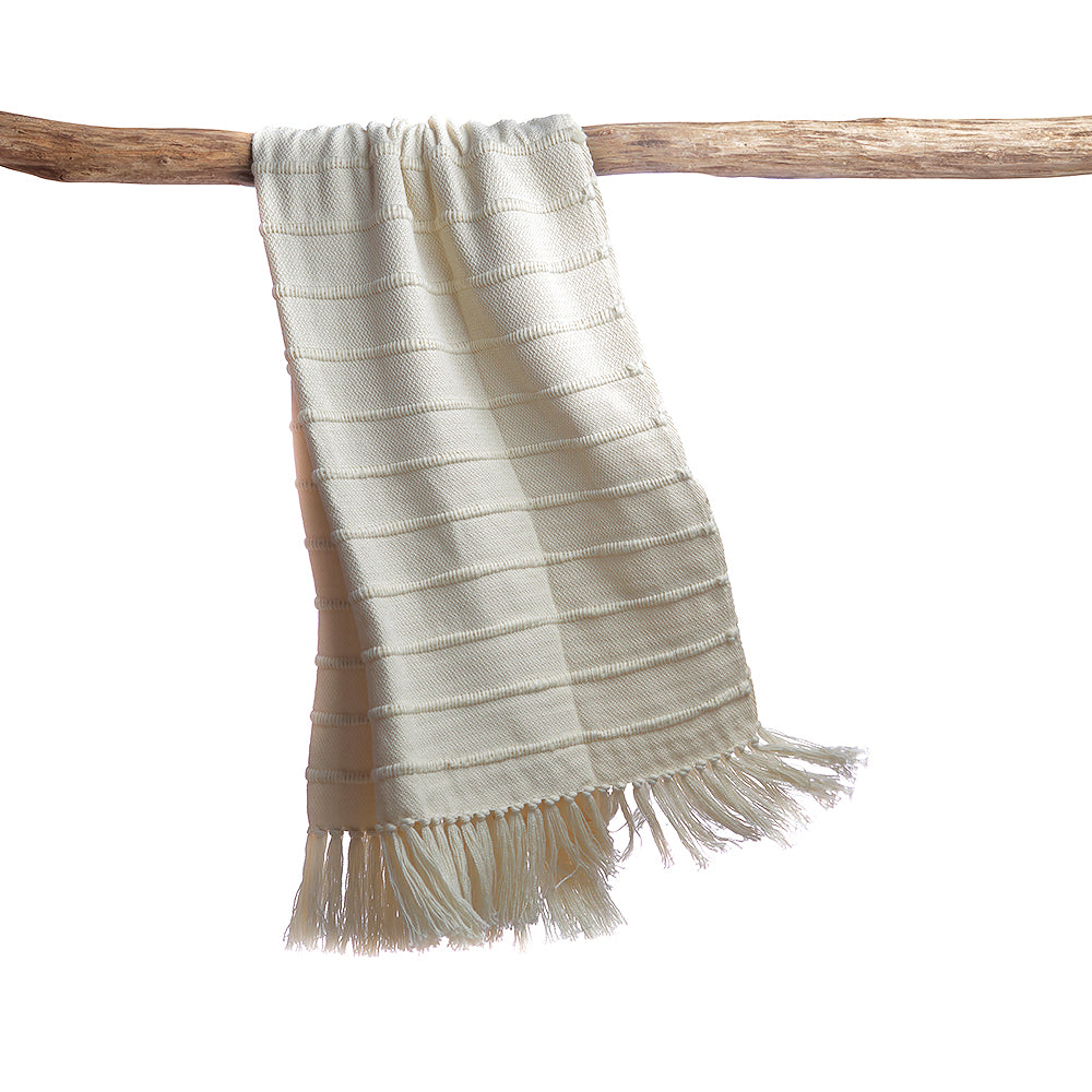 Ivory Striped Wool Throw Blanket